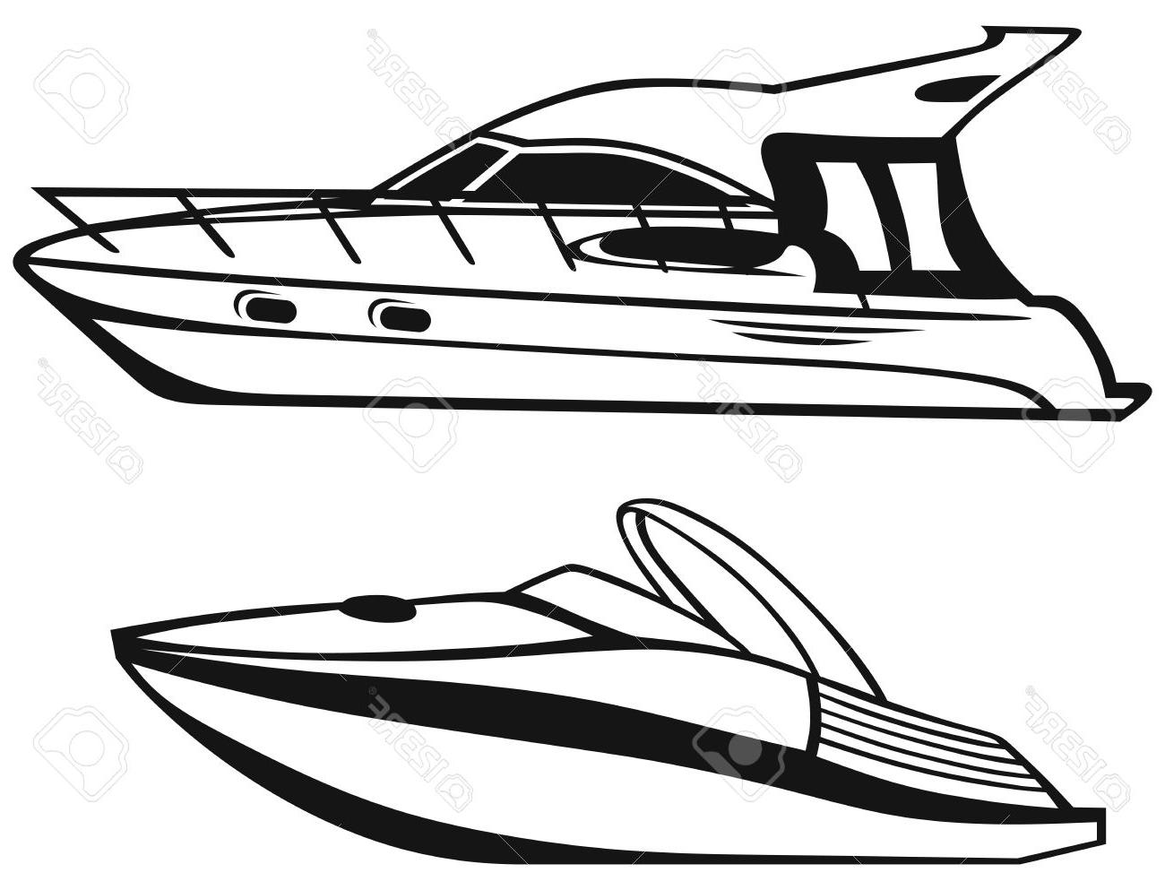 vector stock Yacht clipart fast boat. Black and white free