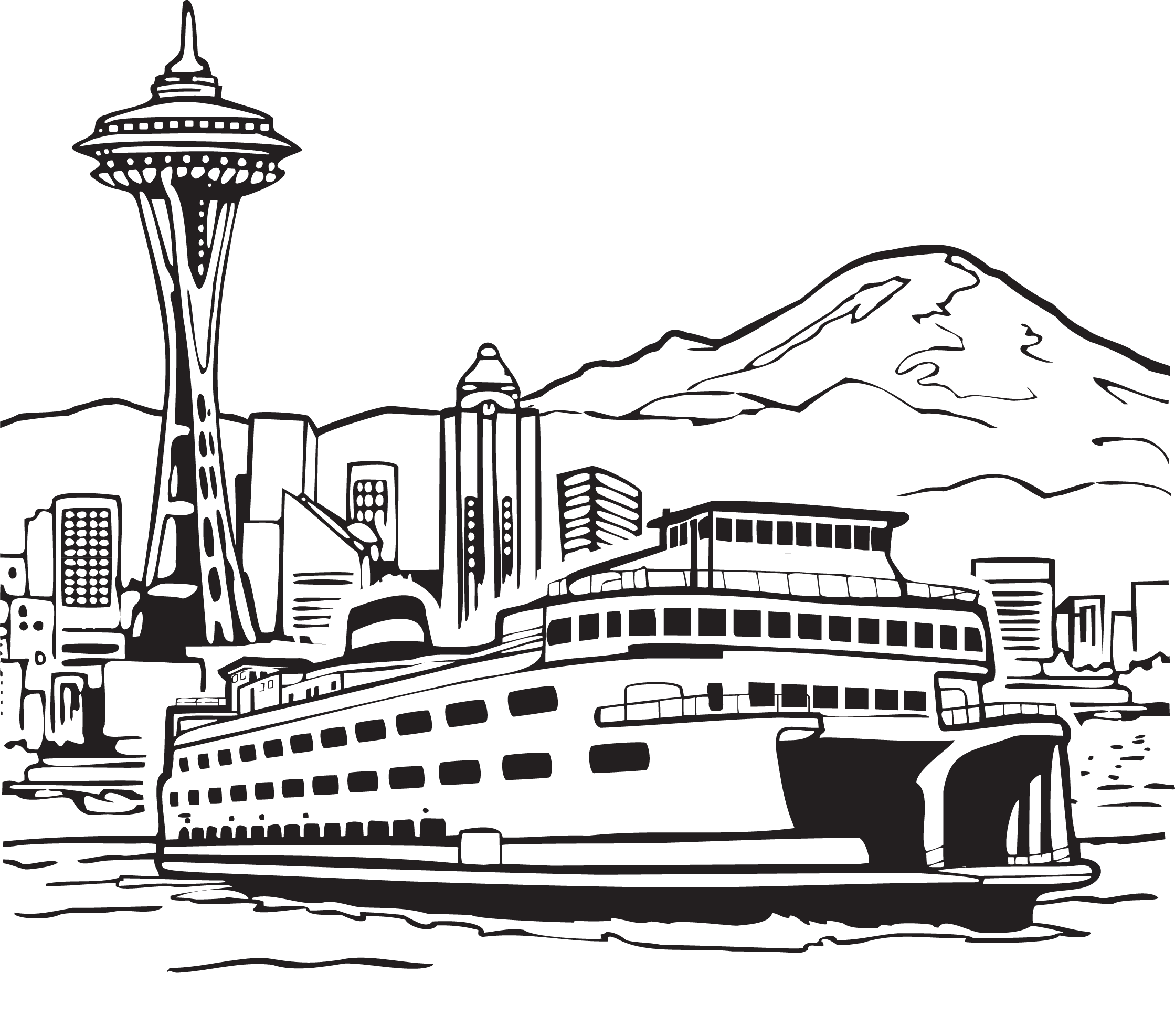 clip art black and white Yacht clipart ferry boat. Space needle smith tower