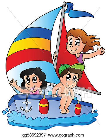 graphic black and white Eps illustration with three. Yacht clipart kid
