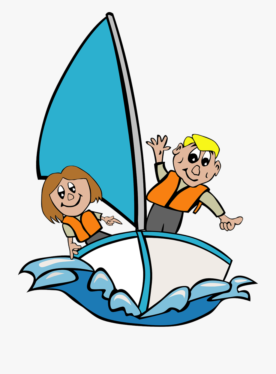 banner royalty free Yacht clipart kid. Sailboat children playing girl