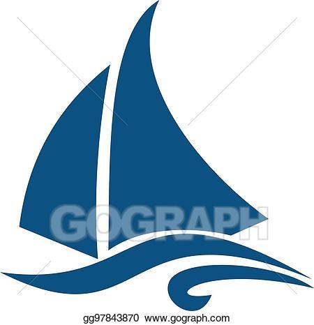 vector freeuse stock Eps illustration sailing ship. Yacht clipart logo