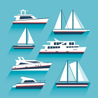clipart free stock Set of yachts and. Yacht clipart maritime