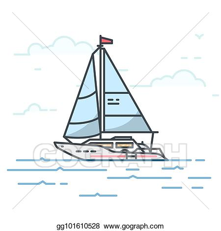 clip art library Eps vector big sail. Yacht clipart modern boat