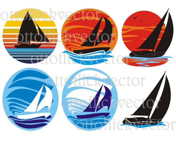 jpg library Yacht clipart sailboat race. Vector sailing boat silhouettes