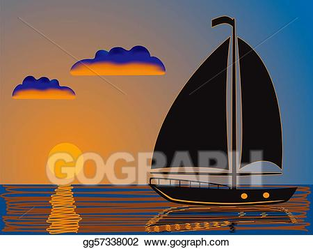 graphic royalty free stock Yacht clipart sailboat sunset. Drawing sea and gg