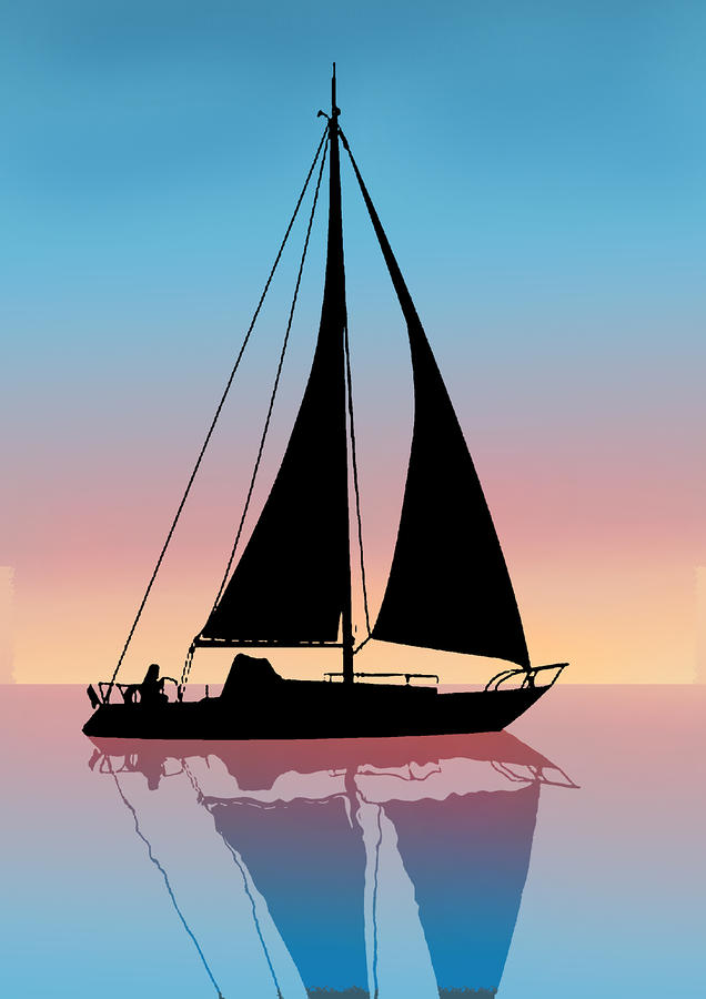 banner library stock Yacht clipart sailboat sunset. Free silhouette download clip