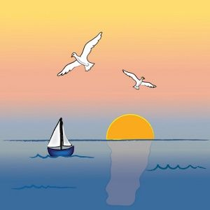 svg freeuse Ocean image with and. Yacht clipart sailboat sunset