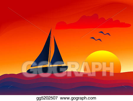 png black and white library Clip art sailing into. Yacht clipart sailboat sunset