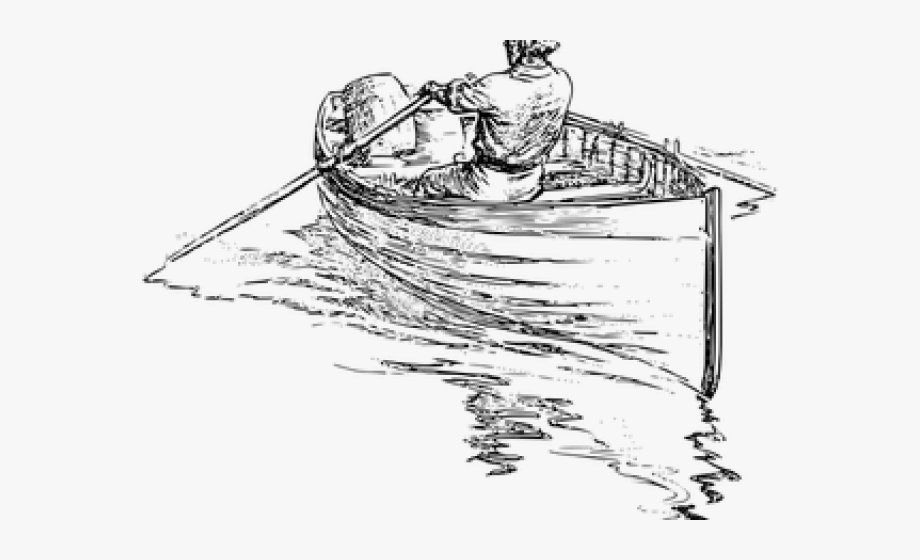 clip black and white Fishing boat man in. Yacht clipart sampan