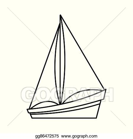 clip art download Eps illustration icon outline. Yacht clipart small