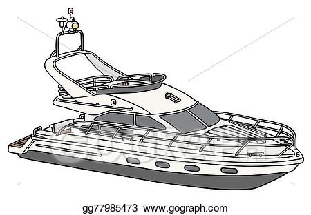 picture freeuse Yacht clipart small. Vector art motor drawing