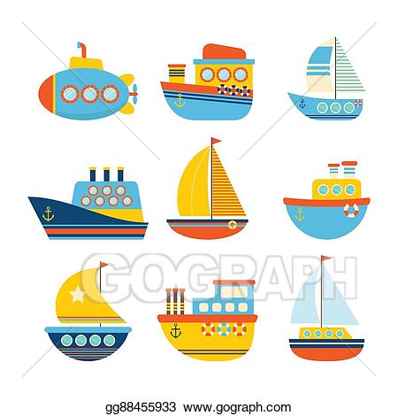 png transparent library Yacht clipart toy sailboat. Vector art set of