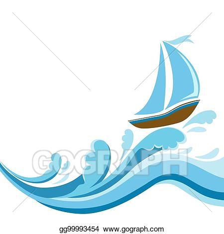 clipart black and white library Vector illustration sailboat on. Yacht clipart wave boat