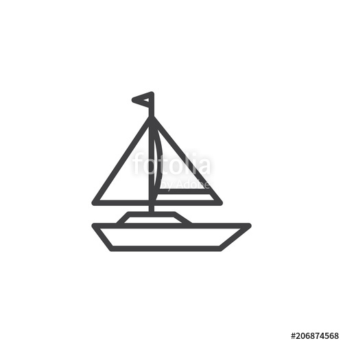 graphic black and white stock Sailboat outline icon linear. Vector boat simple