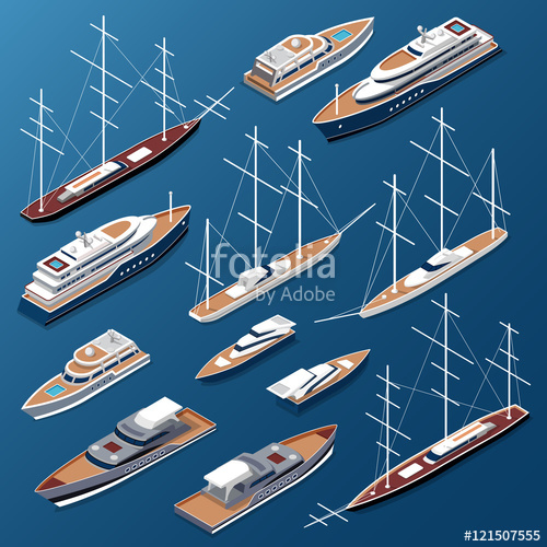 royalty free library Isometric flat yachts and boats vector Marine nautical