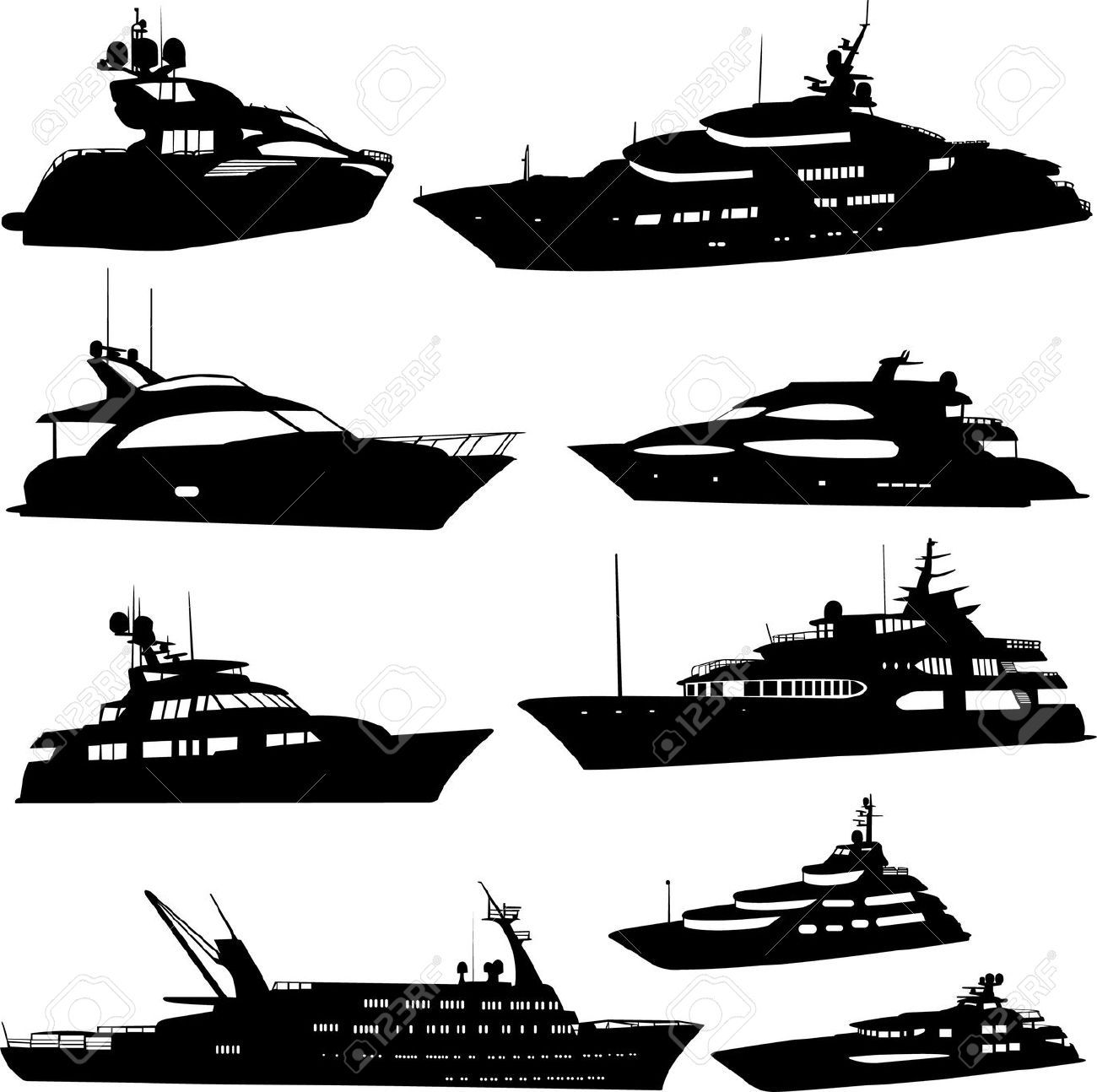 clipart library stock Yate con motor dise. Vector boat silhouette