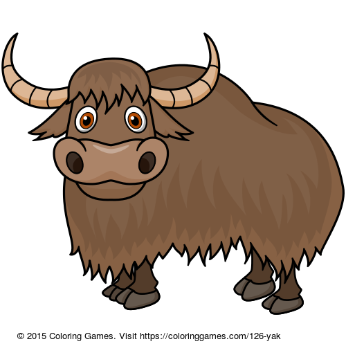 picture black and white download Yak coloring