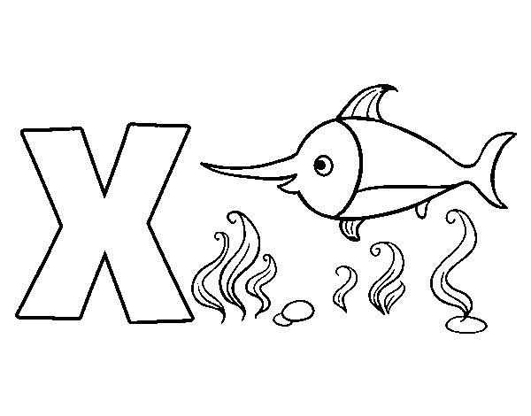 graphic X of Xhiphias coloring page