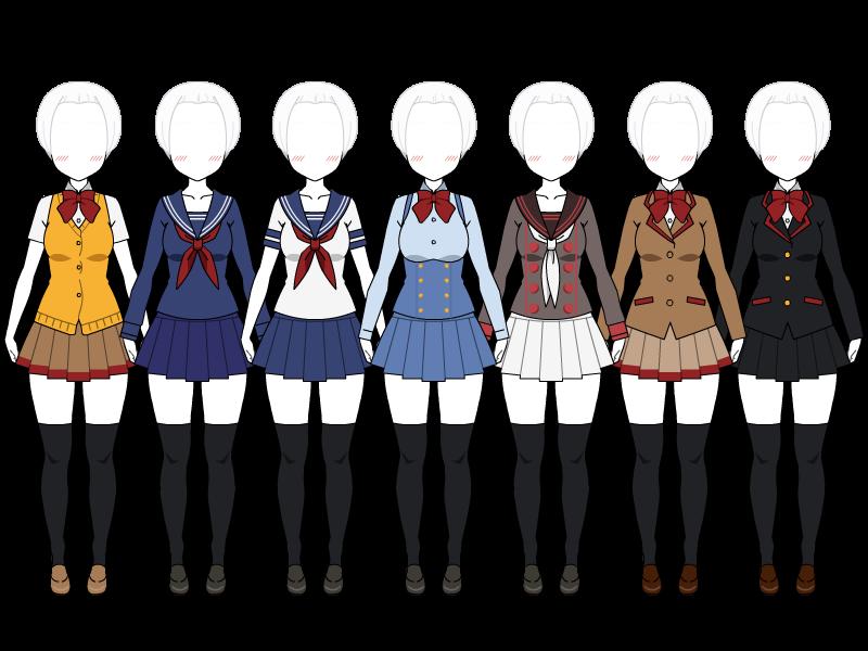 vector free download Yandere Simulator uniforms