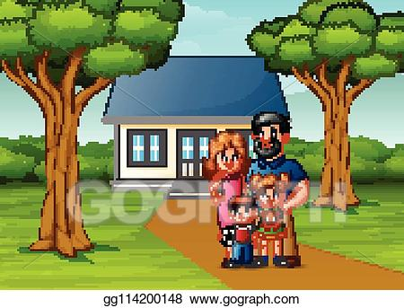 clipart royalty free Eps vector family in. Yard clipart cartoon