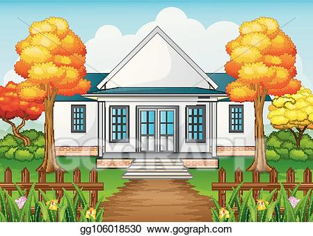 picture free stock Vector art house in. Yard clipart cartoon
