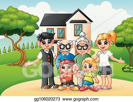 clip art royalty free library Vector illustration happy family. Yard clipart cartoon