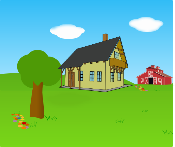jpg black and white library Land clipart barn