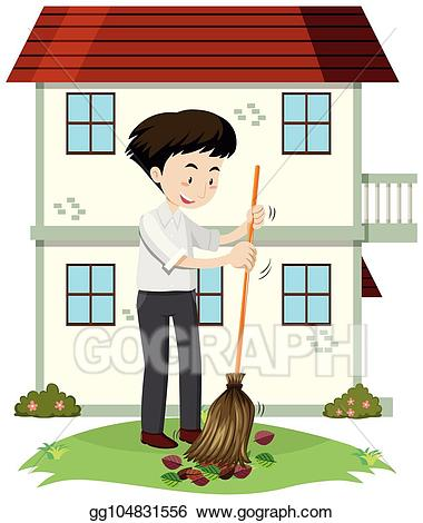 banner royalty free stock Yard clipart cleaning. Eps illustration a man