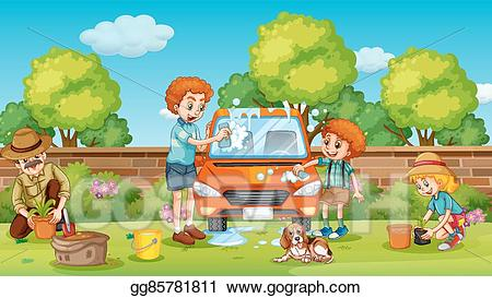 free stock Yard clipart cleaning. Vector illustration father and
