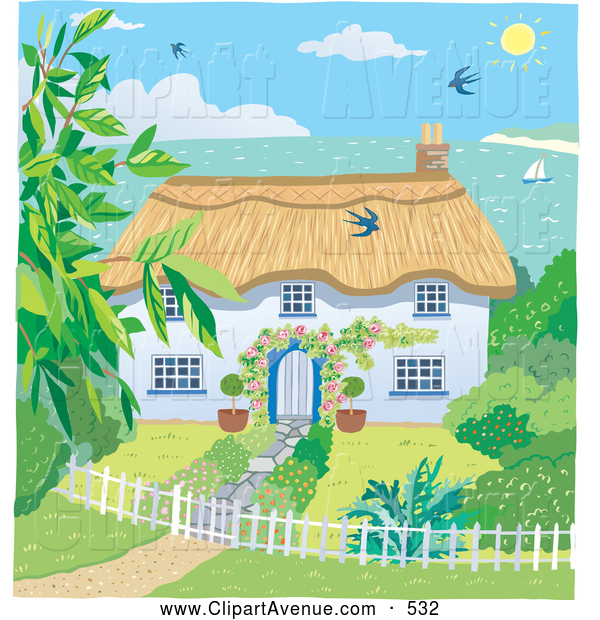 svg library download Avenue of a bright. Yard clipart cute cottage
