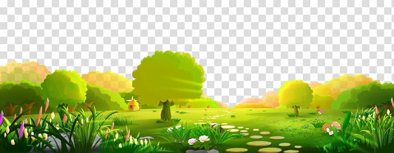 banner library Play with trees illustration. Yard clipart grass yard