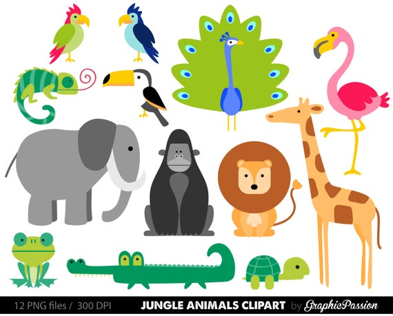 clip art freeuse library Yard clipart safari. Jungle animals baby digital.
