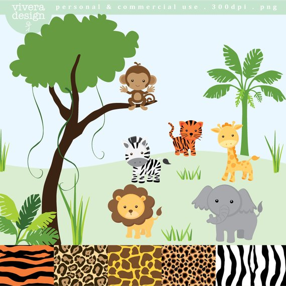 vector black and white Jungle animal clip art. Yard clipart safari.