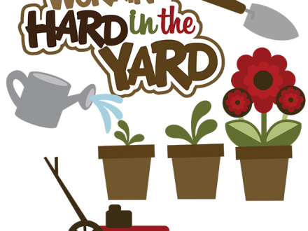 svg black and white Yard work clipart. Lawn and garden clip