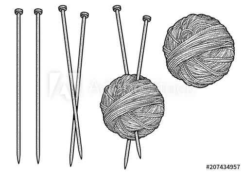 svg transparent Yarn and knitting needles illustration
