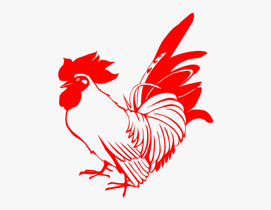 png library stock Rooster red poultry stamp. Year clipart chicken