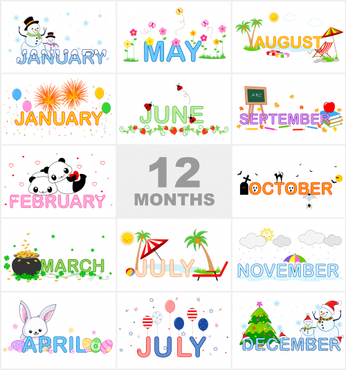 jpg transparent download Months of the printable. Year clipart preschool