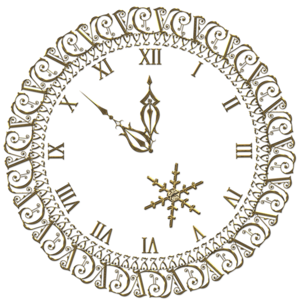 image library New Year PNG Gold Clock Clipart