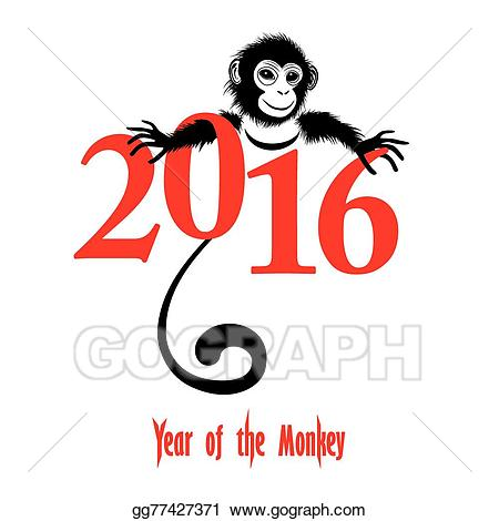 picture Vector illustration chinese new. Years clipart monkey 2016
