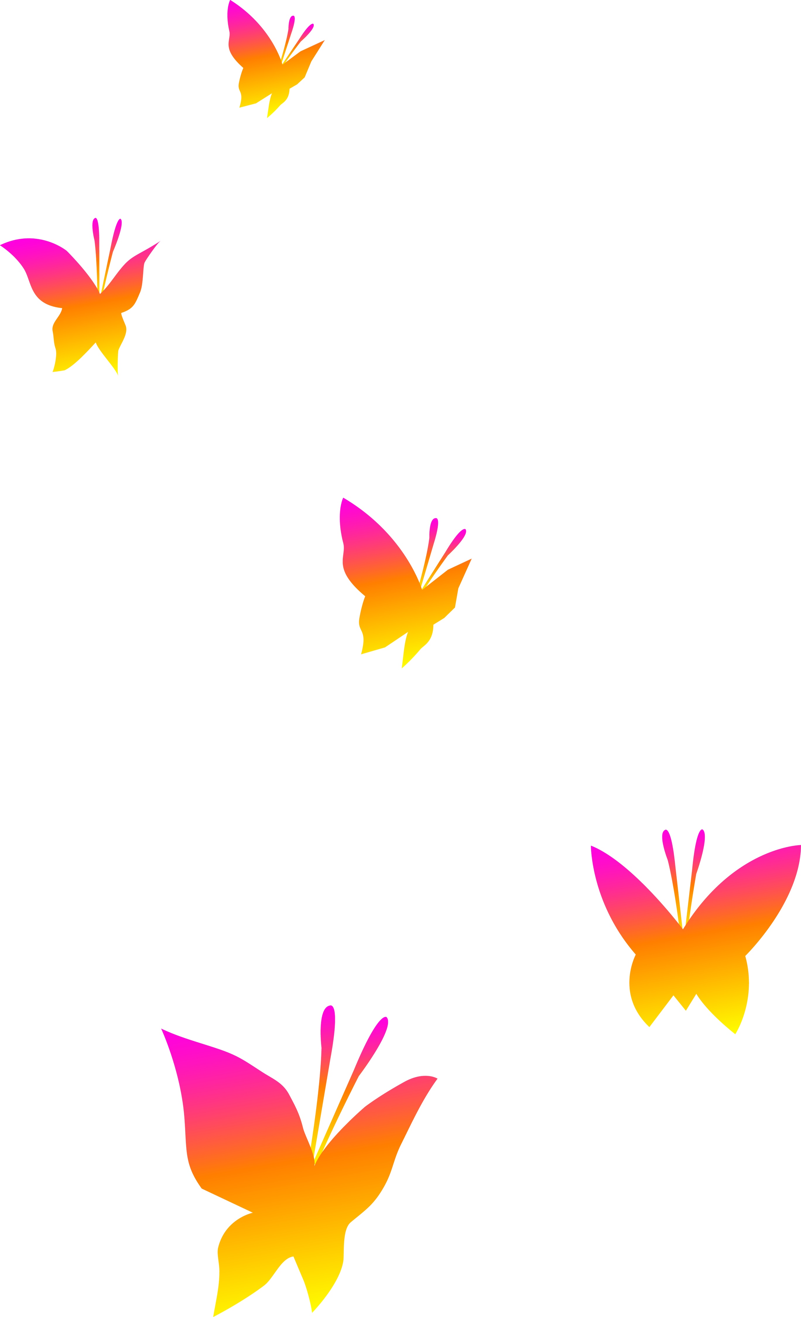 graphic transparent download Pink Orange and Yellow Butterflies