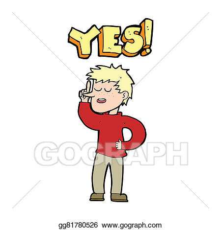 vector free stock Stock illustration man saying. Yes clipart cartoon.