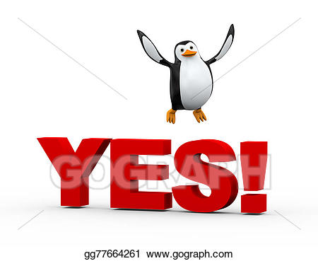 graphic black and white Yes clipart cute. Stock illustrations d penguin