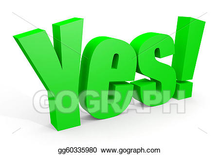 vector freeuse library Stock illustration d text. Yes clipart green