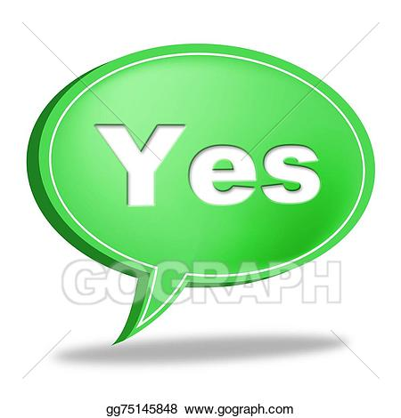 clipart black and white library Stock illustration message represents. Yes clipart okay