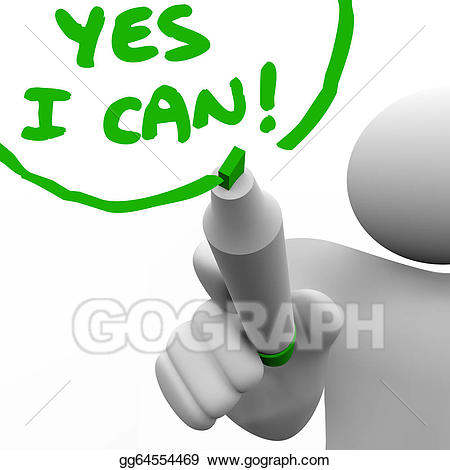 graphic stock Yes clipart positive attitude. Stock illustration i can