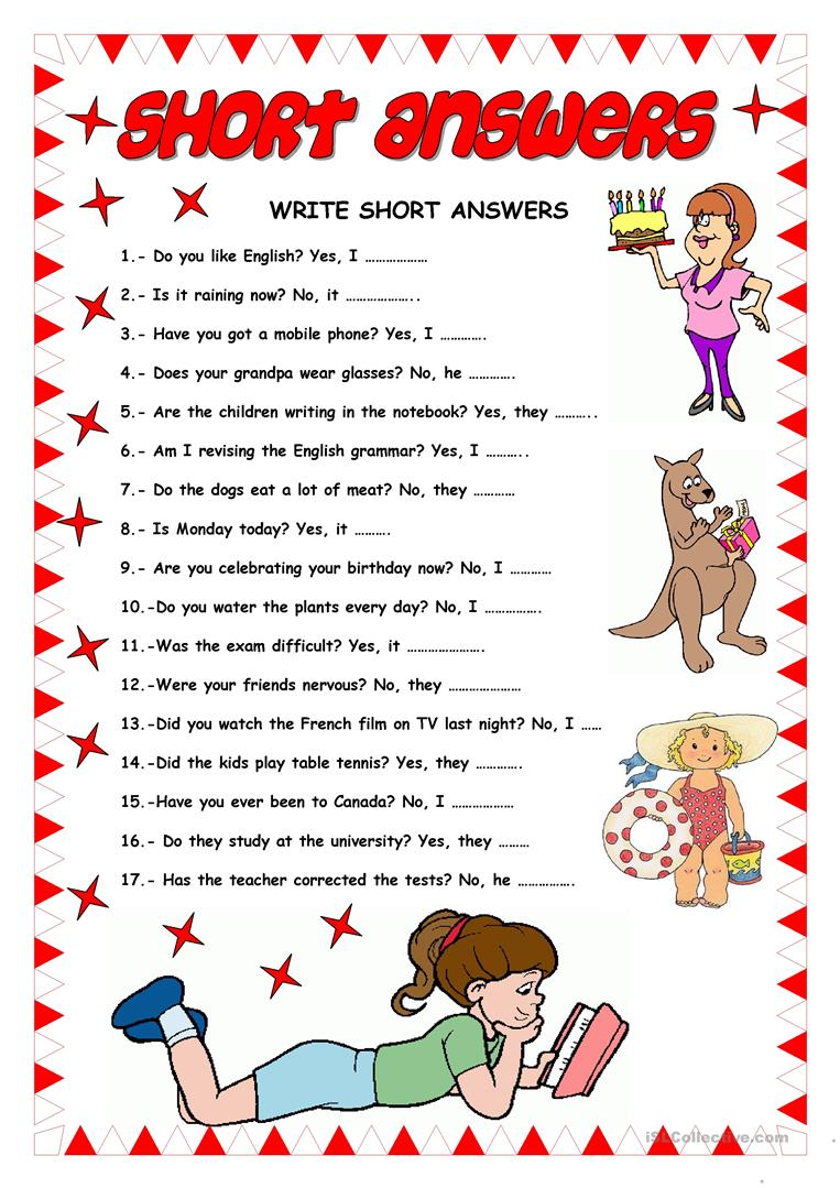 picture royalty free library Yes clipart short answer. Answers english esl worksheets