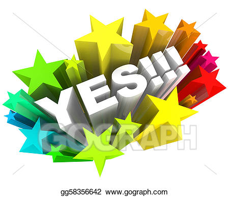 image transparent Yes clipart word. Stock illustrations and stars