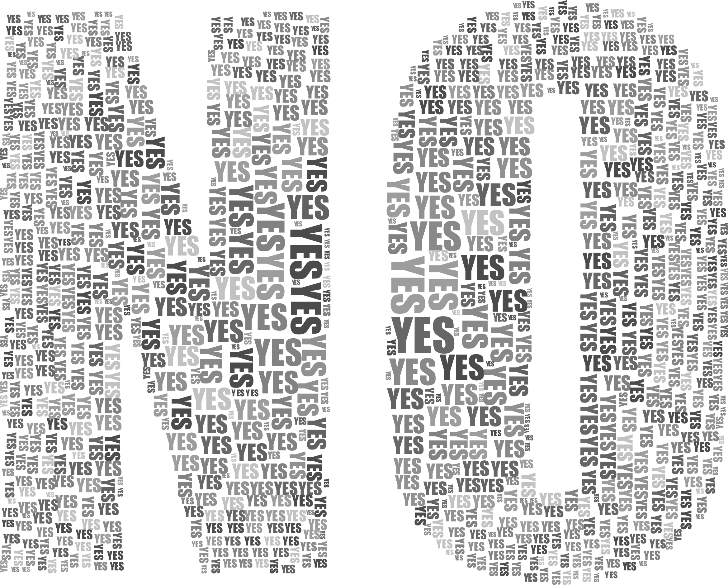 vector black and white And typography grayscale big. Yes no clipart
