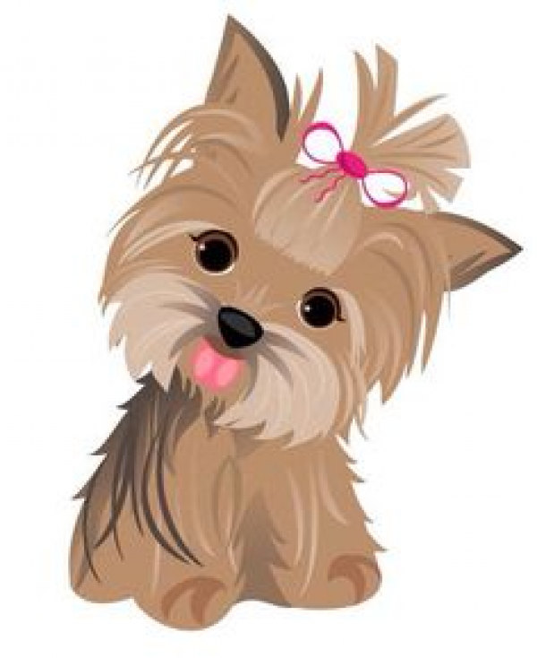 vector royalty free stock Watercolor yorkshire terrier set. Yorkie clipart.