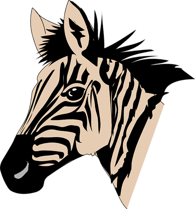 image free Zebra head clipart black and white.  collection of high
